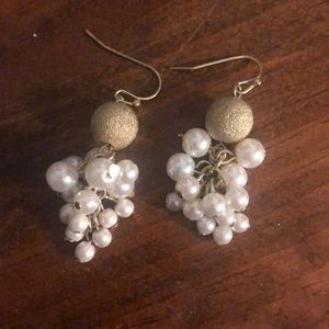 Gold colored /white earrings
